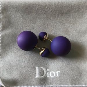 Authentic Dior Triabal Earrings, Purple EUC